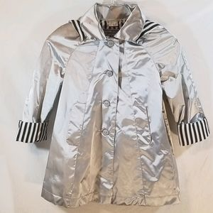 Vintage Giacca Young Gallery Girls Silver Raincoat
